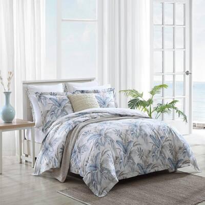 Bakers Bluff 3-Piece Blue Botanical Cotton Queen Comforter Set