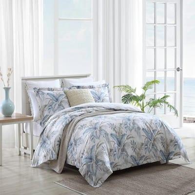 Bakers Bluff 3-Piece Blue Botanical Cotton King Comforter Set