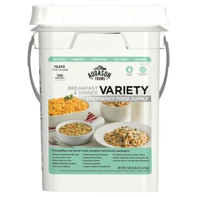 Augason Farms Breakfast and Dinner Variety Pail Emergency Food Supply 13 Varieties 4-Gallon Pail 25 Year Shelf Life