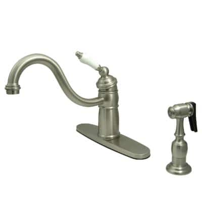 Victorian Single-Handle Standard Kitchen Faucet with Side Sprayer in Brushed Nickel