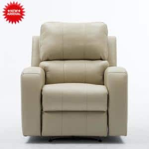 Milk White Power Recliner Chair with USB Charge Port for Bedroom and Living Room