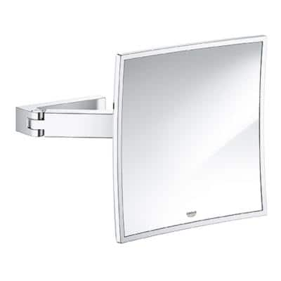 8 in. W x 8 in. H Framed Square Magnifying Bathroom Vanity Mirror in StarLight Chrome