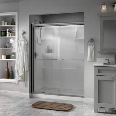 Everly 60 in. x 70 in. Semi-Frameless Traditional Sliding Shower Door in Nickel with Clear Glass