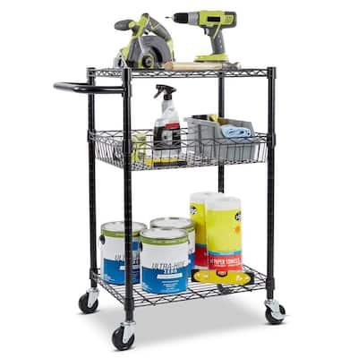 3-Tier Steel Wire Multipurpose Basket Shelf Adjustable Storage Utility Cart in Black