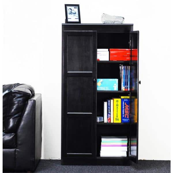 Concepts In Wood - 60 in. Espresso Wood 4-shelf Standard Bookcase with Adjustable Shelves