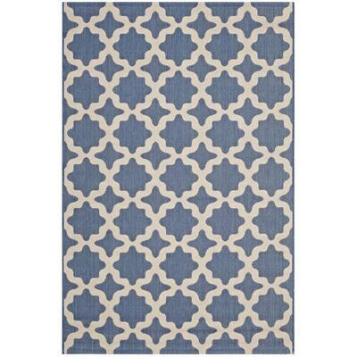 Cerelia in Blue and Beige 9 ft. x 12 ft. Moroccan Trellis Indoor/Outdoor Area Rug