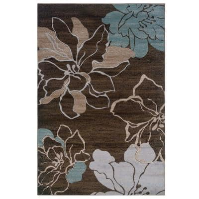 Milan Collection Brown and Turquoise 2 ft. x 3 ft. Indoor Area Rug