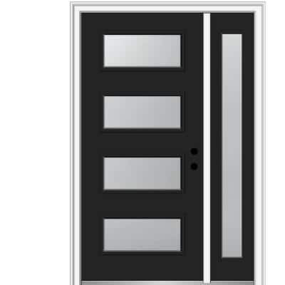 51 in. x 81.75 in. Celeste Frosted Glass Left-Hand Inswing 4-Lite Eclectic Painted Steel Prehung Front Door w/ Sidelite