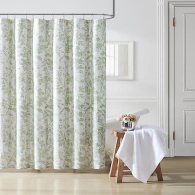 Natalie 72 in. x 72 in. Green 1-Piece Cotton Shower Curtain