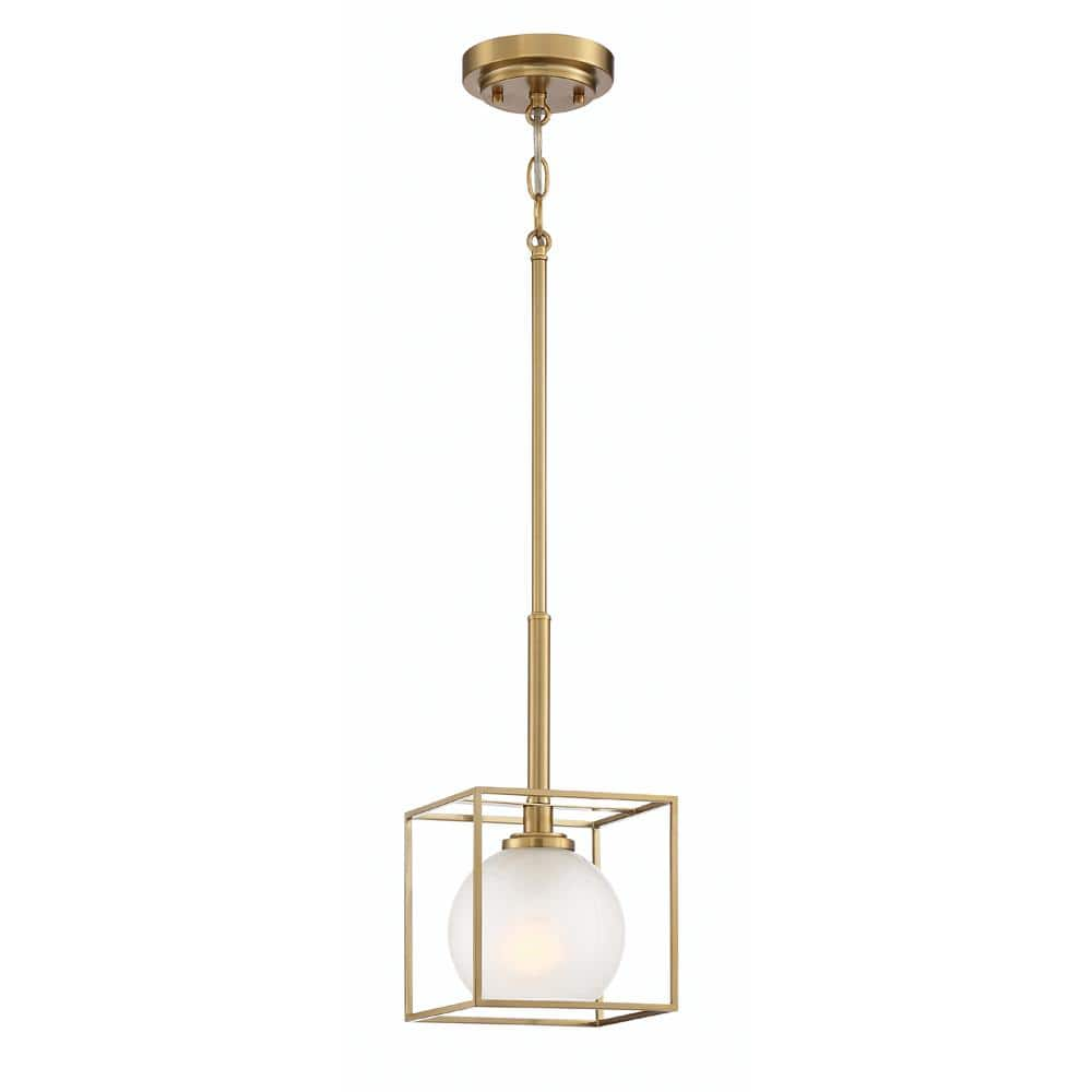 Designers Fountain Cowen 1 Light Brushed Gold Interior Mini Pendant With Clear Polished Etched Glass Shade