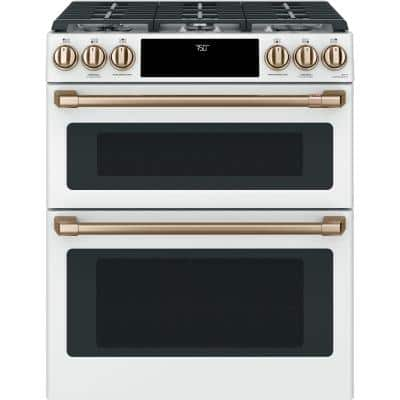 30 in. 6.7 cu. ft. Slide-In Smart Double Oven Gas Range with Self-Cleaning Convection in Matte White