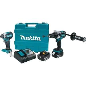 18-Volt LXT Lithium-Ion Brushless Cordless Combo Kit (2-Piece) Hammer Drill/Impact Driver w/ (2) Batteries (5.0Ah), Case