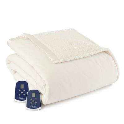 Sherpa Reverse King Ivory Electric Heated Blanket
