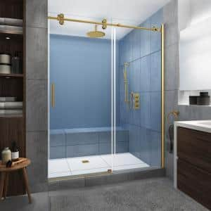 Langham XL 60 in. - 64 in. x 80 in. Frameless Sliding Shower Door with StarCast Clear Glass in Brushed Gold, Left Hand
