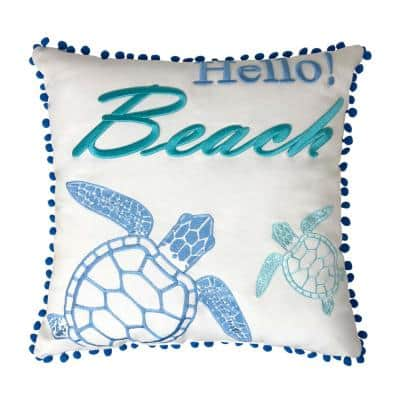 Hello Beach Pillow Embroidered 18 in. x 18 in. White