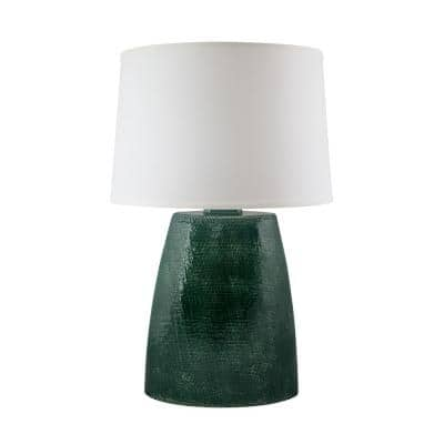Burlap 28 in. Jade Crackle Indoor Table Lamp