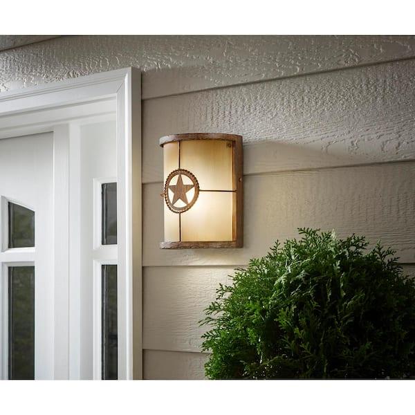 Hampton Bay Lone Star 1 Light Desert Sands Outdoor Wall Lantern Sconce 17208 The Home Depot
