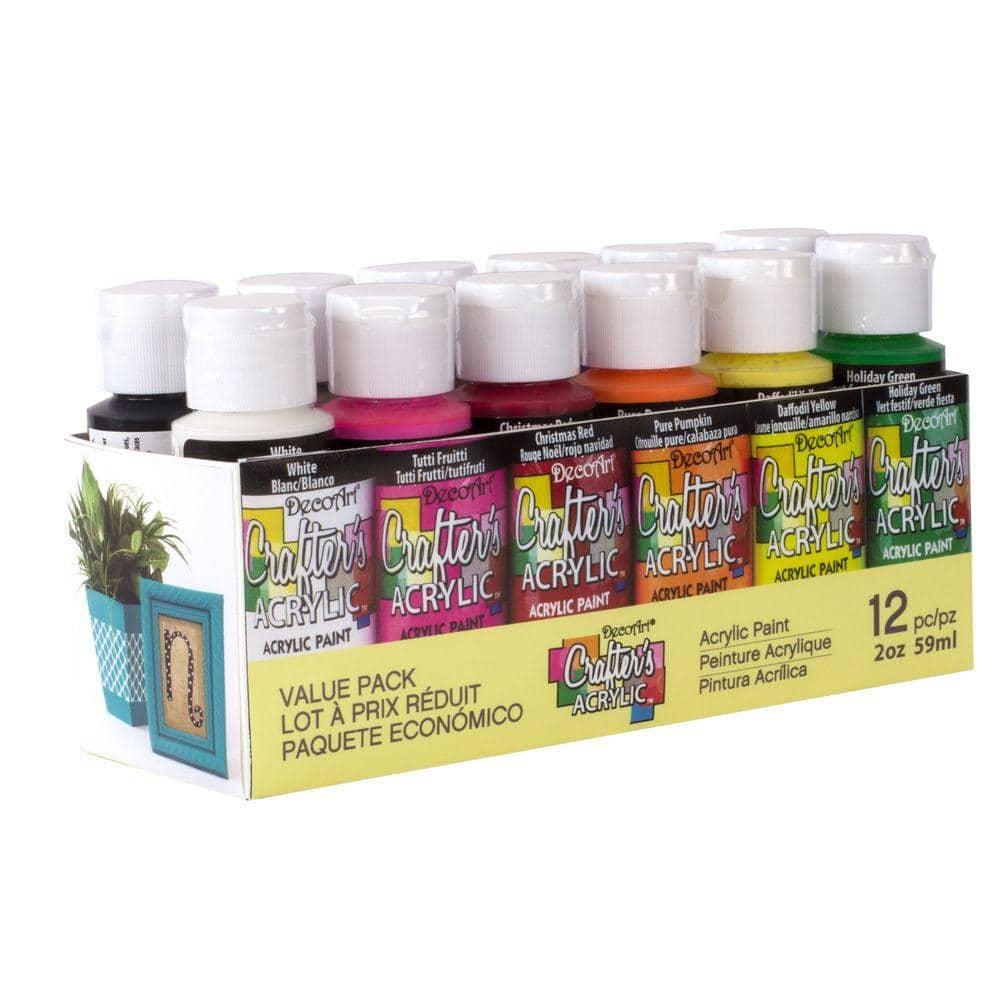 DecoArt 2 oz. 12-Color Acrylic Craft Paint Set