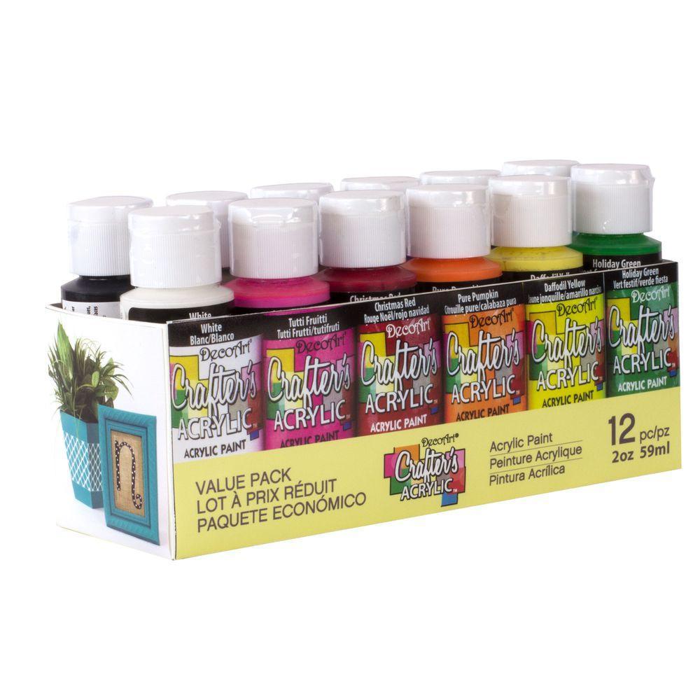 2 oz. 12-Color Acrylic Craft Paint Set