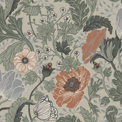 Anemone Grey Floral Paper Strippable Roll (Covers 56.4 sq. ft.)