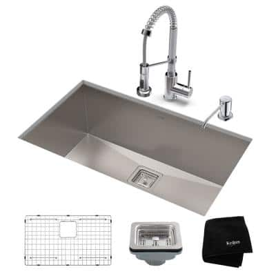 Pax All-in-One Undermount Stainless Steel 31 in. Single Bowl Kitchen Sink with Faucet in Chrome