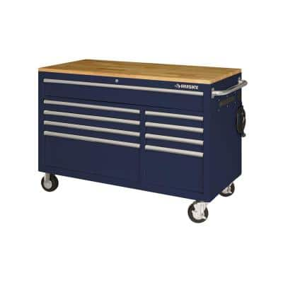 52 in. 9-Drawer Mobile Workbench in Gloss Blue