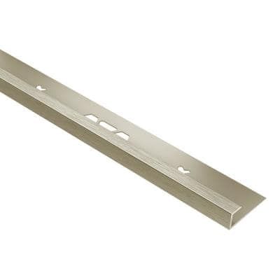 Vinpro-S Brushed Nickel Anodized Aluminum 1/4 in. x 8 ft. 2-1/2 in. Metal Resilient Tile Edge Trim