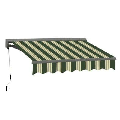 10 ft. Classic C Series Semi-Cassette Electric w/ Remote Retractable Patio Awning (98in. Projection) Green/Beige Stripes