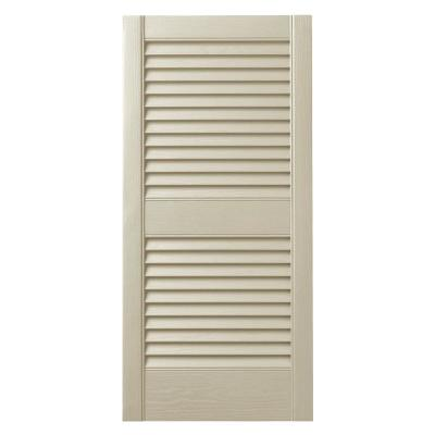 15 In. x 39 in. Open Louvered Polypropylene Shutters Pair in Sand Dollar
