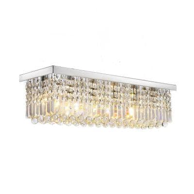 5-Light Rectangle Unique Silver Tiered Chandelier with K9 Crystal