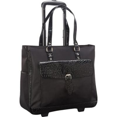 Midnight Black Lightweight Nylon 2-Wheel 17 in. Laptop Business Tote/Overnighter Carry On Bag