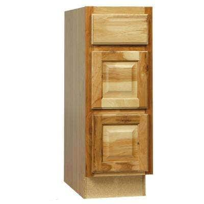Hampton Assembled 12x34.5x21 in. Bathroom Vanity Drawer Base Cabinet with Ball-Bearing Drawer Glides in Natural Hickory