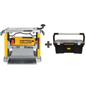 12-1/2 in. Portable Thickness Planer with Three Knife Cutter-Head with 24 in. Tote with Organizer