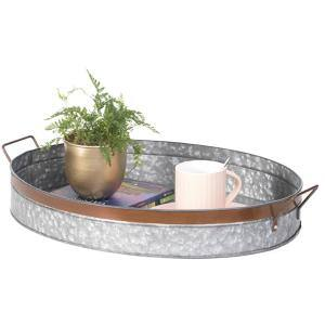 Galvanized Metal Oval Rustic Serving Tray With Handles Medium