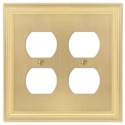 Hallcrest 2 Gang Duplex Metal Wall Plate - Satin Brass