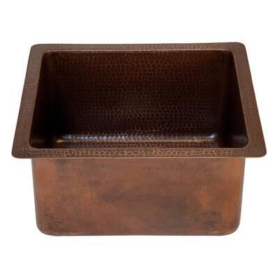 Bronze 14 Gauge Copper 16 in. Dual Mount Bar Sink