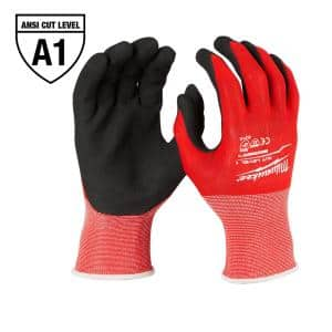 Small Red Nitrile Level 1 Cut Resistant Dipped Work Gloves