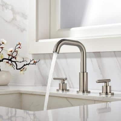 8 in. Widespread Double Handle Mid-Arc Bathroom Faucet in Brushed Nickel, with cUPC Valve and Water Supply Lines
