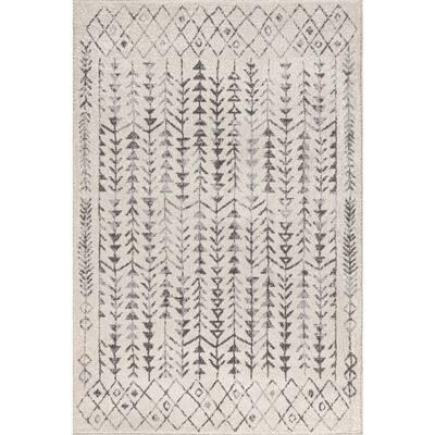 Ziri Moroccan Geometric Cream/Gray 3 ft. x 5 ft. Area Rug