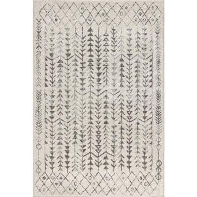 Ziri Moroccan Geometric Cream/Gray 8 ft. x 10 ft. Area Rug