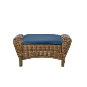 Beacon Park Brown Wicker Outdoor Patio Ottoman with CushionGuard Sky Blue Cushions