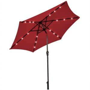 9 ft. Metal Market Solar LED Lighted Tilt Patio Umbrella in Red with Crank
