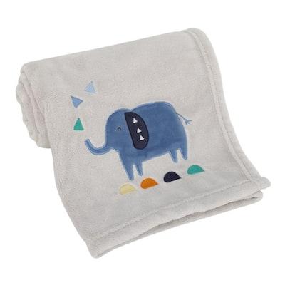 Modern Jungle Pals Super Soft Gray Elephant Baby Blanket (Polyester)