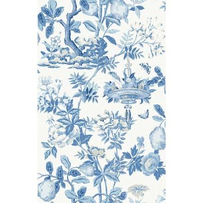 Blue Delft Shantung Garden Self Adhesive Wallpaper