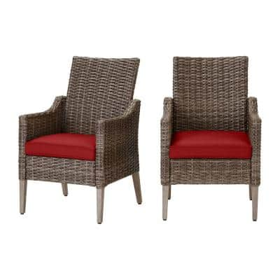 Rock Cliff Brown Wicker Outdoor Patio Stationary Dining Chair with CushionGuard Chili Red Cushions (2-Pack)