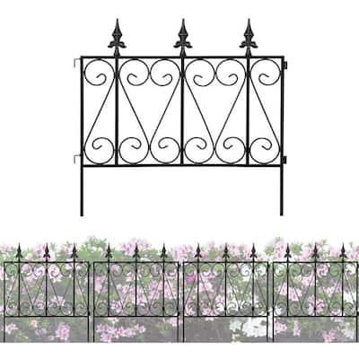 24 in. H Black Iron Garden Fence Thicken Metal Wire Fencing Rustproof 4-Panels