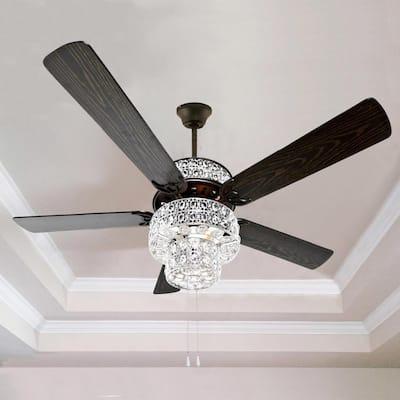 Bohemian Pierced Metal 52 in. Clear Crystal LED Ceiling Fan With Light