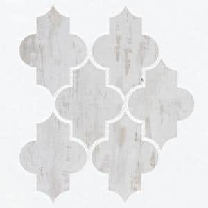 Wood Look White Birch Arabesque Mosaic 4 in. x 5.5 in. Glass Wall Tile (0.51 Sq. ft.)