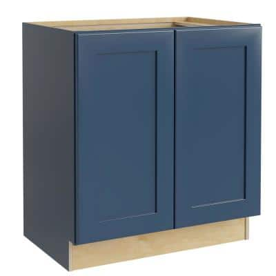 Neptune Blue Painted Plywood Shaker Stock Assembled Bath Kitchen Cabinet Vanity 2 Doors (27 in. x 34.5 in. x 21 in.)