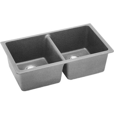 Quartz Classic Greystone Quartz 33 in. Equal Double Bowl Undermount Kitchen Sink